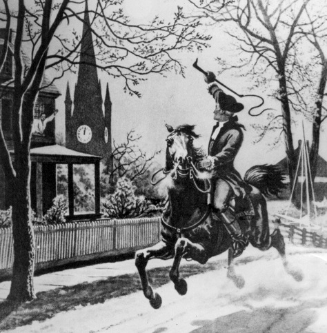 Image of Paul Revere shouting something, probably about Red Coats. But maybe he's just on a horse waving hello.